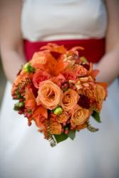 Shades of Orange Wedding Bouquet