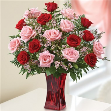 Shades of Pink & Red in Red Vase Arrangement
