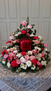 Shades of Pink Urn Wreath