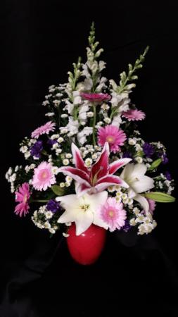 Shades of pretty pink vase arrangement