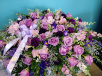 Shades of Purple Casket Spray