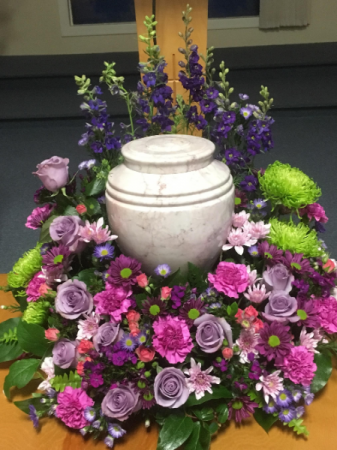 Shades of purple urn wreath
