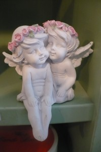 """Shelf Sitter Angels $12.00 poly stone almost 4"""" overall high"""