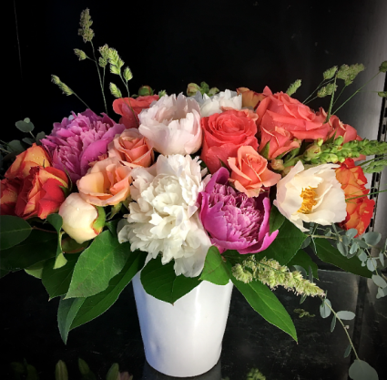 She's A Lady Classic arrangement of Roses and Peonies