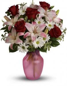 She's The One Bouquet TEV23-4 Red Roses, Pink Lilys and White Poms