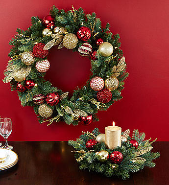 Shimmering Ornament Wreath and Centerpiece