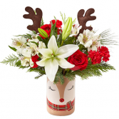 SHINE BRIGHT BOUQUET REINDEER VASE ARRANGEMENT