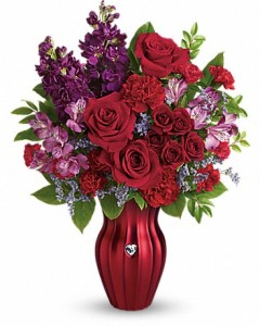Shining Heart Bouquet Embellished Rinstone Heart Vase in Mineola, TX | CHERYL'S LAKE COUNTRY FLORIST