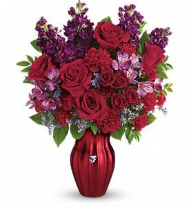 Shining Heart  Teleflora Red Rose  Vase