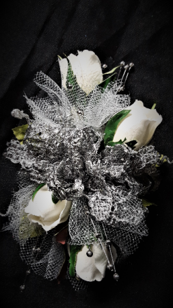 shinning in silver wrist corsage