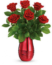 Rouge Romance Specialty vase with roses