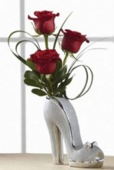Shoe Vase (Red and Silver)