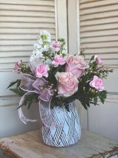 Short Pink Vase Arrangement Valentine's Day Special