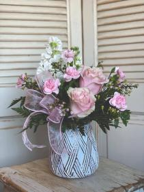 Short Pink Vase Arrangement Valentine's Day Special