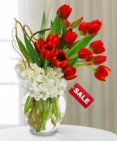 Short, Sweet & Sassy tulips & hydrangeas