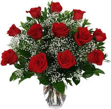 Show My Love a dozen red roses arranged in a vase