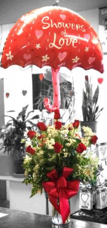 Showers of Love Red Rose Arrangement