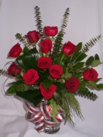 SHOWERS OF RED ROSES- Roses and Gifts Classic Red Rose Arrangement   Roses in Prince George,   Romantic Roses