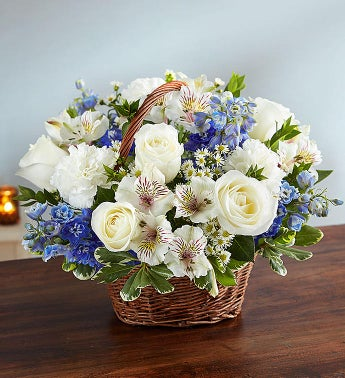 showing your love-  white with blue floral arrangement