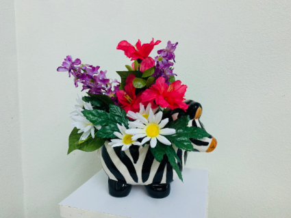 Silk Arrangement in a ceramic zebra Silk Arrangement