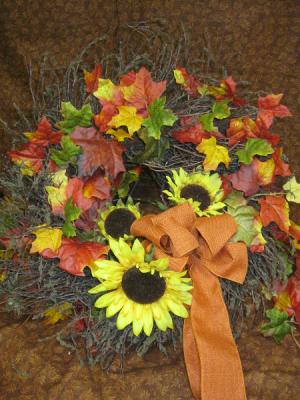 Silk Autumn Wreath custom in Windham, ME | Blossoms of Windham