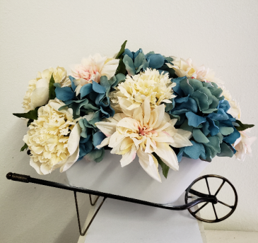 (SILK) Barrel of Blooms Silk flower arrangement