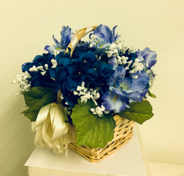 (SILK) Basket of Blues Silk Arrangement