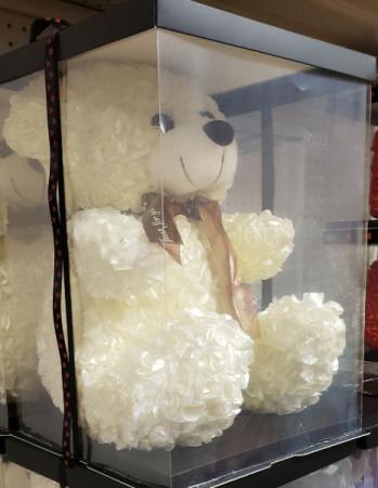 Plush rose bear  Gift bear soft silk