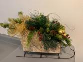 (SILK) Birch Sleigh Silk flower arrangement
