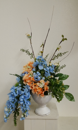 Silk blue and peach arrangement Silk Arrangement