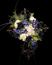 Silk Blue Easel Ornate Cross
