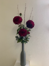 (SILK) Burgundy Daliahs Silk flower arrangement