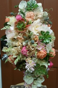 Silk Cascading Bridal Picture Bouquet Cascade Bouquet