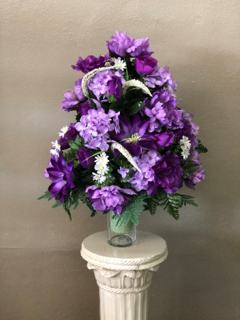 Silk cemetery vase purple in gulfport ms forget me not florist silk cemetery vase purple mightylinksfo