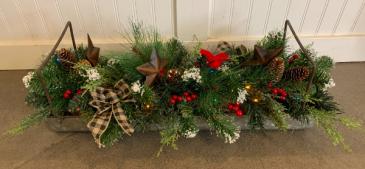 (SILK) Christmas centerpiece  Silk flower arrangement with multi colored lights