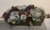 (silk) copper metal eggplant and grey  Silk flower arrangement