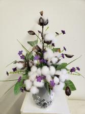(SILK) Cotton and Silver Silk flower arrangement