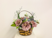 (SILK) Delicate Mauve Basket  Silk Arrangement