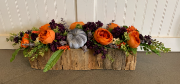 (SILK) Fall bark centerpiece Silk flower arrangement