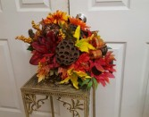 Silk Fall Cornicopia  Fall and Thanksgiving Centerpiece