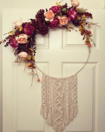 Silk Florals and Macrame Gold Hoop Wreath