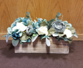 Silk flowers in wooden box Silk Arrangement
