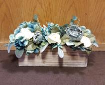 Silk flowers in wooden box Silk Arrangement