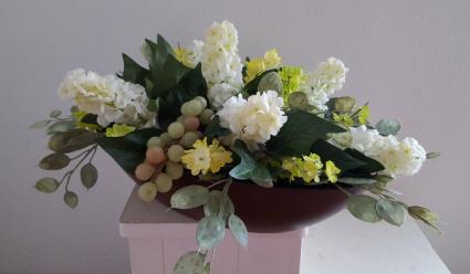 Silk flowers in wooden container Silk Arrangement