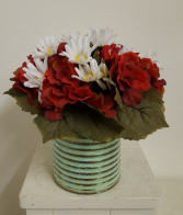 Silk geraniums and daisies in metal container Silk Arrangement