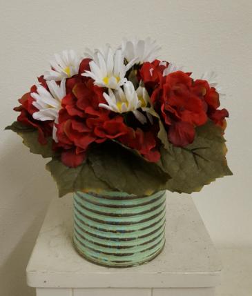 Silk geraniums and daisies in metal container Silk Arrangement