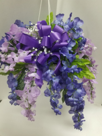 Silk Hanging Garden Basket Silk Arrangement for Cemetery