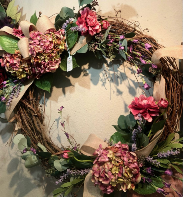 Xtra Lg Silk Hydrangea grapevine wreath