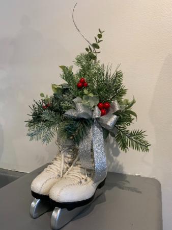 (SILK) Ice Skates and greenery  Silk flower arrangement