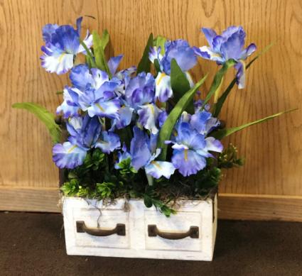 Silk Iris in wood drawer Silk Arrangement